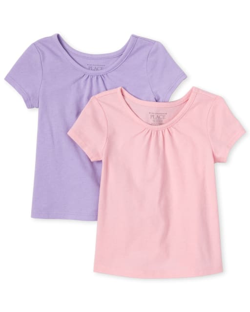 Baby And Toddler Girls Short Sleeve Basic Layering Tee 2-Pack