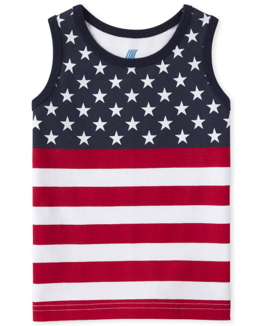 Baby And Toddler Boys Americana Mix And Match Sleeveless Flag Graphic Tank Top