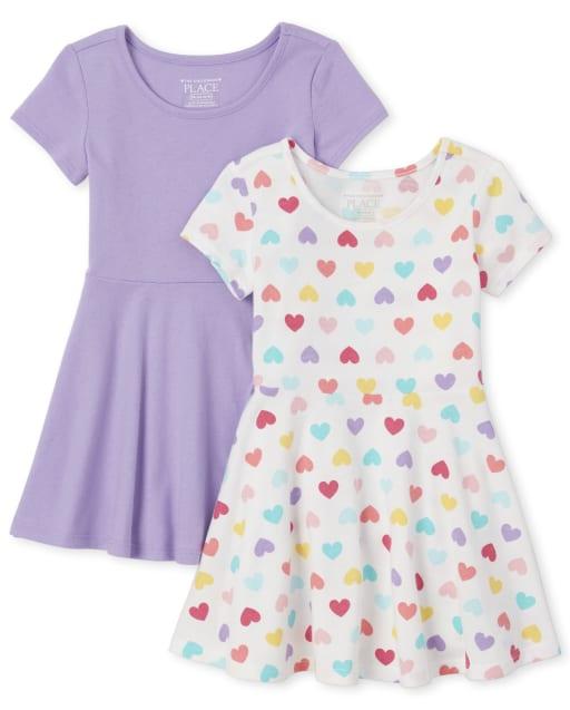 Baby And Toddler Girls Short Sleeve Print Knit Skater Dress 2-Pack
