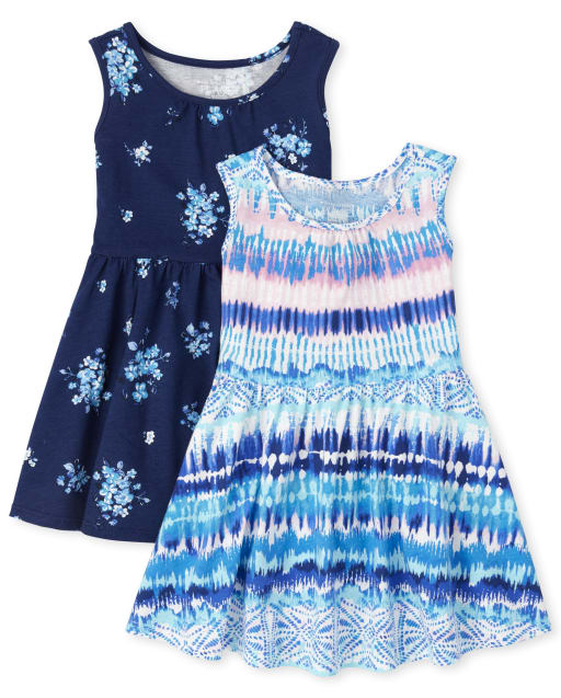 Baby And Toddler Girls Sleeveless Print And Solid Knit Tank Dress 2-Pack