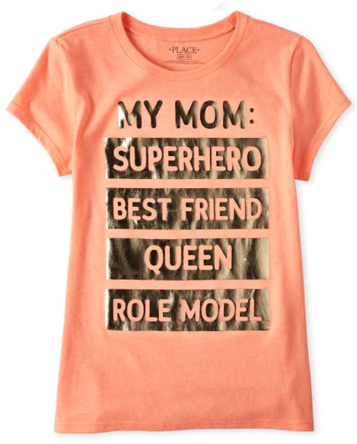 Girls Short Sleeve Foil 'My Mom Superhero Best Friend Queen Role Model' Graphic Tee