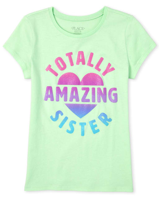 Girls Short Sleeve Glitter 'Totally Amazing And Adorable' Matching Graphic Tee