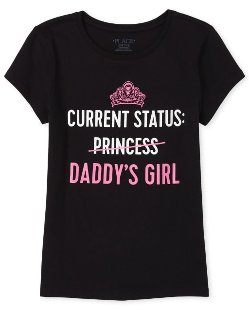 Girls Short Sleeve Glitter 'Current Status Daddy's Girl' Matching Graphic Tee