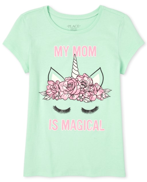 Girls Short Sleeve Glitter 'My Mom Is Magical' Unicorn Matching Graphic Tee