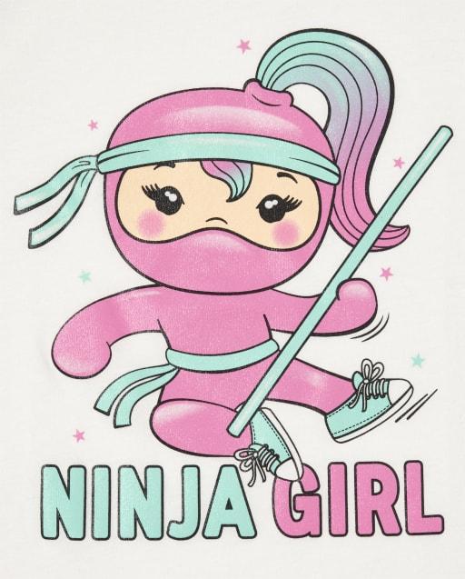 Girls Short Sleeve Glitter Ninja Girl Graphic Tee
