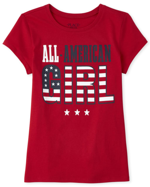 Girls Matching Family Short Sleeve 'All American Girl' Graphic Tee