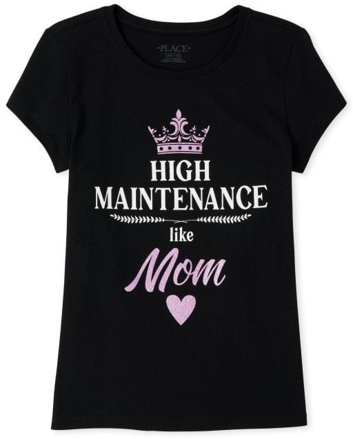 Girls Short Sleeve Glitter 'High Maintenance Like Mom' Graphic Tee