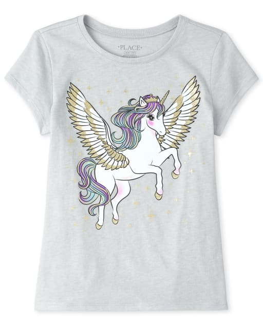 Girls Short Sleeve Glitter Pegasus Graphic Tee