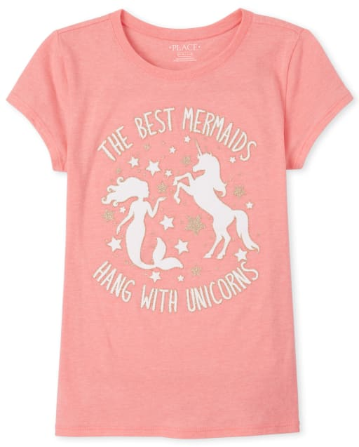 Girls Short Sleeve Glitter 'The Best Mermaids Hang Out With Unicorns' Graphic Tee