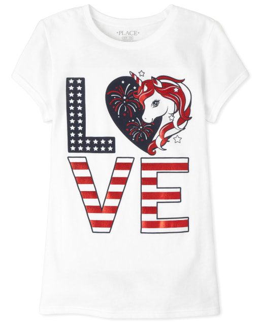 Girls Americana Short Sleeve 'Love' Unicorn Graphic Tee