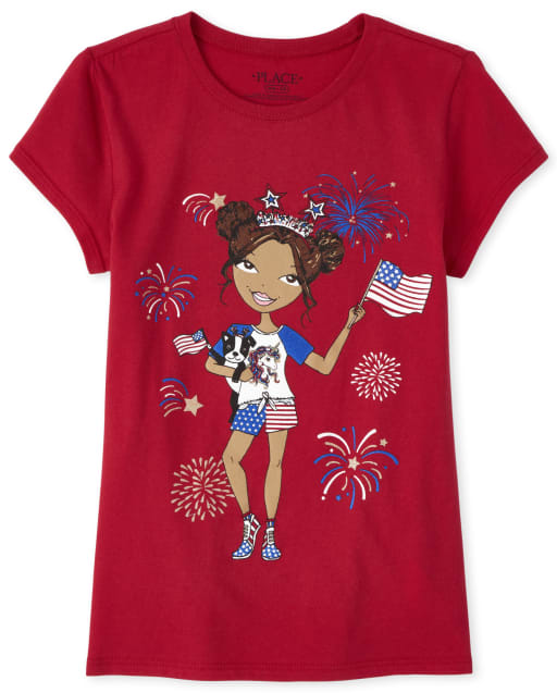 Girls Americana Short Sleeve Girl Matching Graphic Tee
