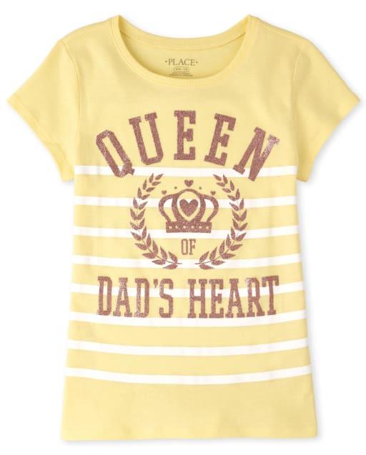 Girls Short Sleeve Glitter 'Queen Of Dad's Heart' Crown Graphic Tee