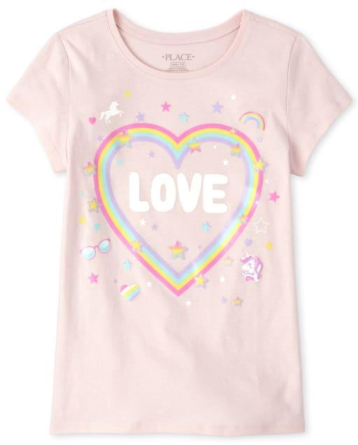 Girls Short Sleeve Rainbow 'Love' Graphic Tee