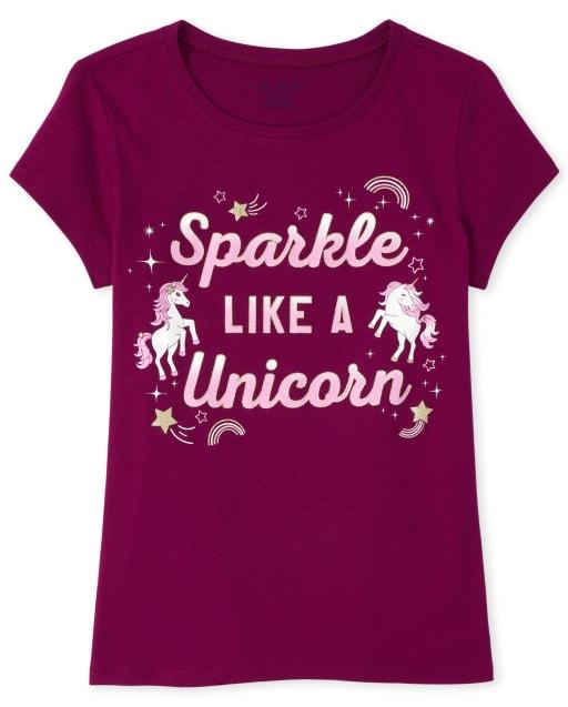 Girls Short Sleeve Glitter 'Sparkle Like A Unicorn' Graphic Tee