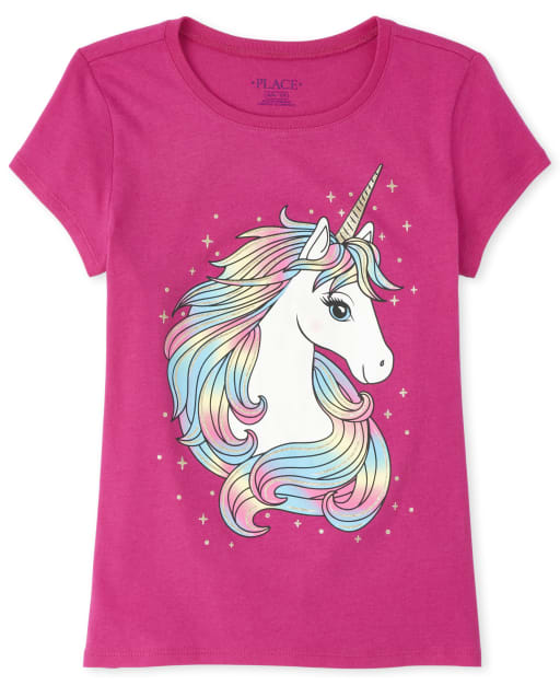 Girls Short Sleeve Glitter Rainbow Unicorn Graphic Tee