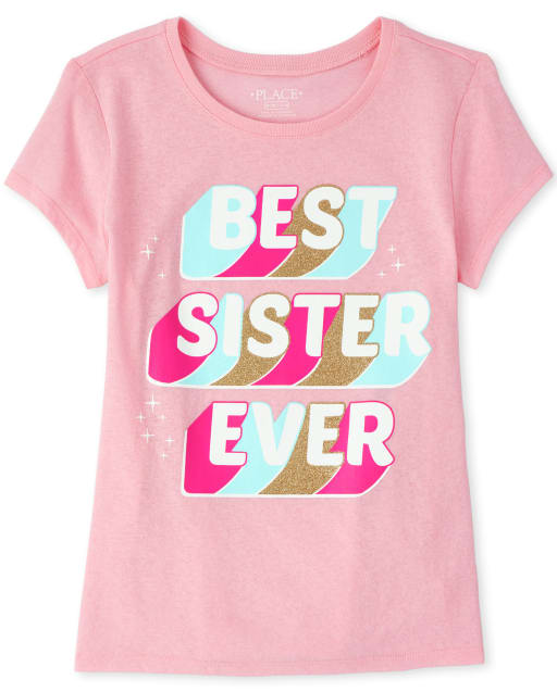 Girls Short Sleeve Glitter 'Best Sister Ever' Matching Graphic Tee