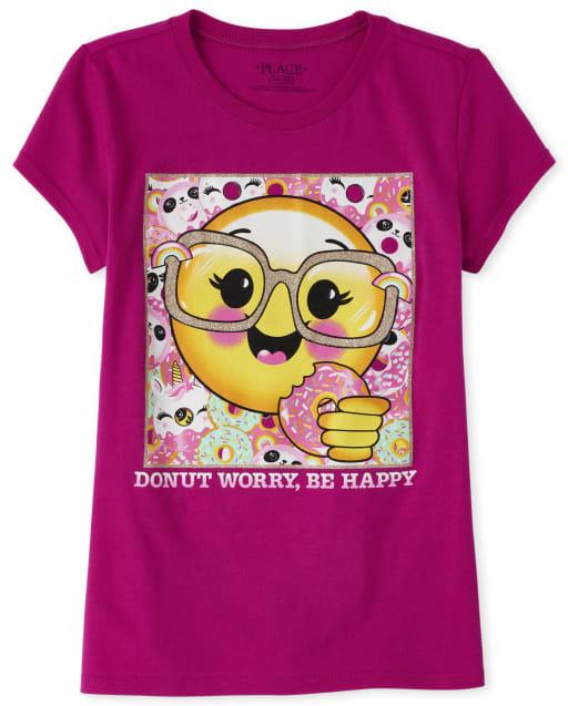 Girls Short Sleeve Glitter Emoji Donut Graphic Tee
