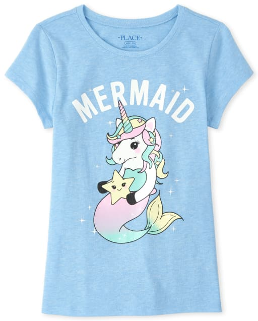 Girls Short Sleeve Glitter 'Mermaid' Unicorn Graphic Tee
