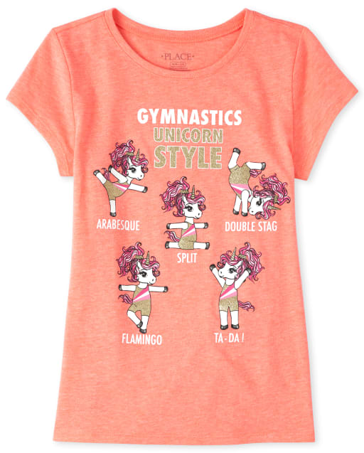 Girls Short Sleeve Glitter 'Gymnastics' Unicorn Graphic Tee