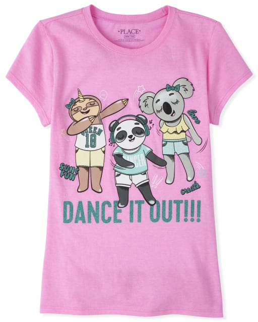 Girls Short Sleeve Glitter 'Dance It Out' Panda Koala And Sloth Graphic Tee