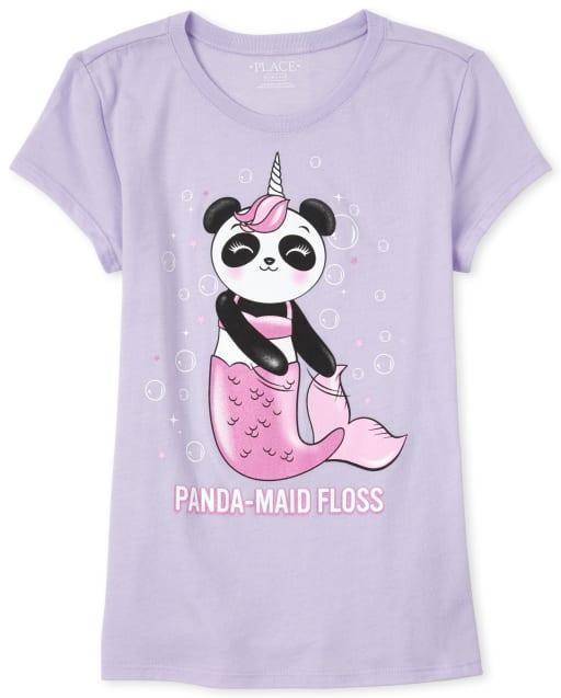 Girls Short Sleeve 'Panda-maid Floss' Graphic Tee