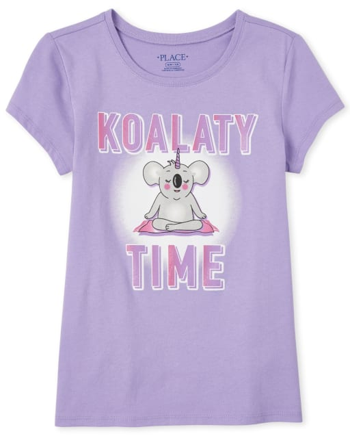 Girls Short Sleeve Glitter 'Koalaty Time' Koala Graphic Tee