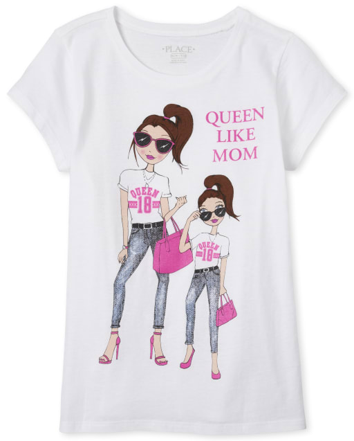 Girls Short Sleeve Glitter 'Queen Like Mom' Graphic Tee