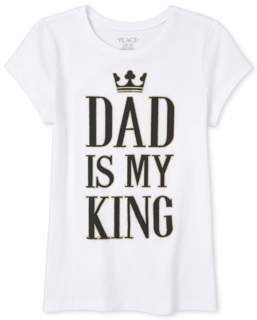 Girls Short Sleeve Glitter 'Daddy Is My King' Matching Graphic Tee