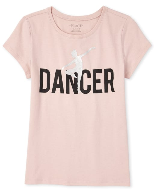 Girls Mommy And Me Short Sleeve Glitter 'Dancer' Matching Graphic Tee