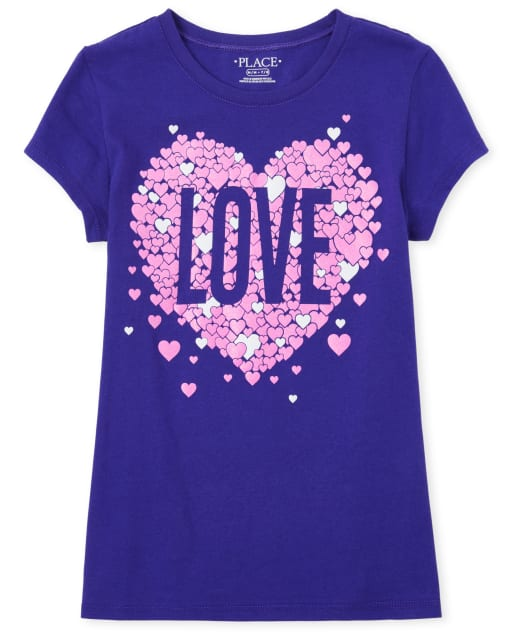 Girls Short Sleeve Glitter 'Love' Hearts Graphic Tee