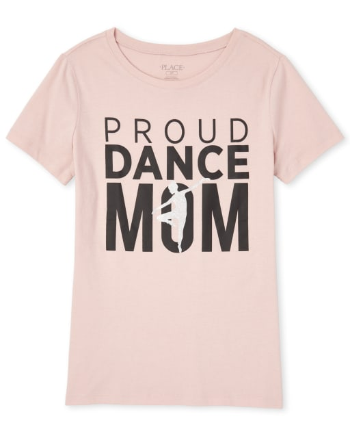 Womens Mommy And Me Short Sleeve Glitter 'Proud Dance Mom' Matching Graphic Tee