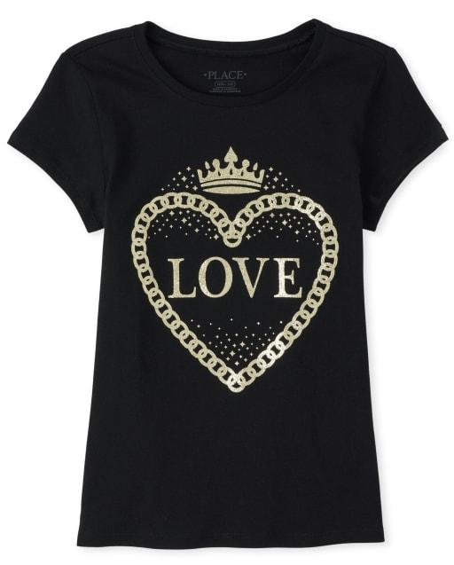 Girls Short Sleeve Glitter 'Love' Heart Graphic Tee