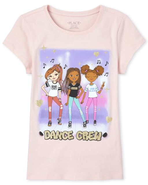 Girls Short Sleeve Glitter 'Dance Crew' Graphic Tee