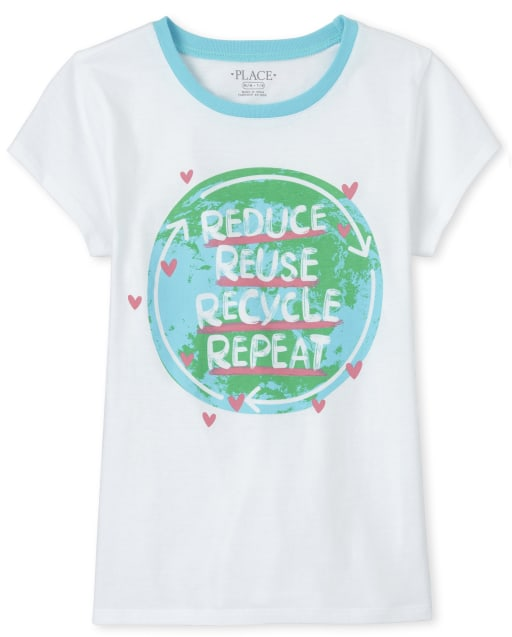 Girls Short Sleeve Glitter 'Reduce Reuse Recycle Repeat' Earth Graphic Tee