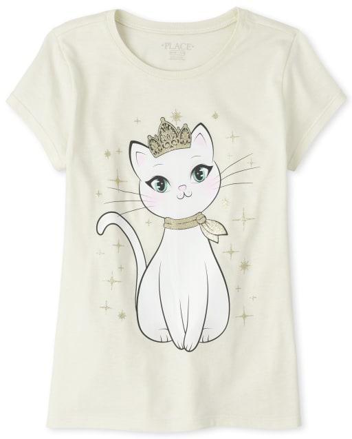 Girls Short Sleeve Princess Cat Graphic Tee