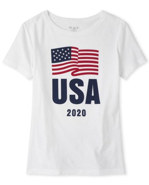 Womens Matching Family Americana Short Sleeve Olympics 'USA 2020' Flag Graphic Tee
