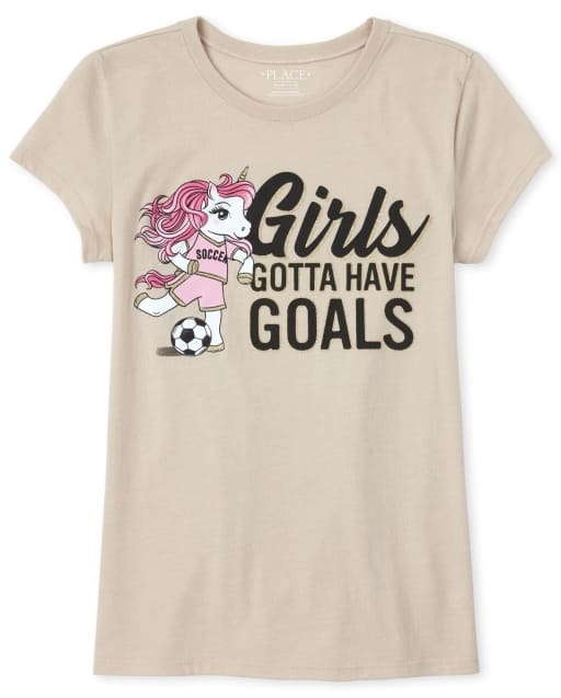 Girls Short Sleeve Glitter 'Girls Gotta Have Goals' Soccer Unicorn Graphic Tee