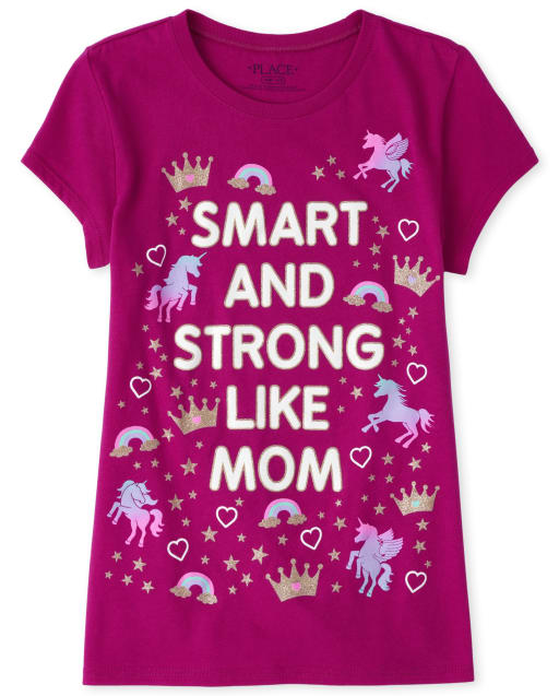 Girls Short Sleeve Glitter 'Smart And Strong Like Mom' Rainbow Graphic Tee