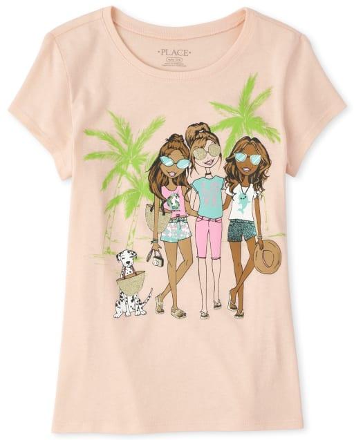 Girls Short Sleeve Glitter Tropical Graphic Tee