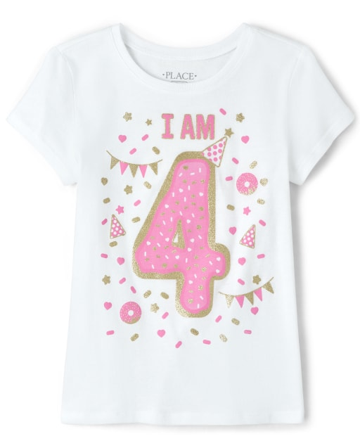 Girls Birthday Short Sleeve Glitter 'I Am 4' Graphic Tee