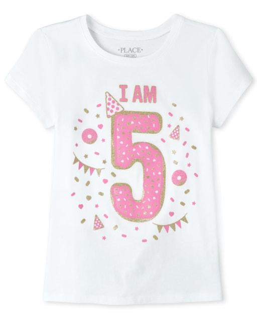 Girls Birthday Short Sleeve Glitter 'I Am 5' Graphic Tee