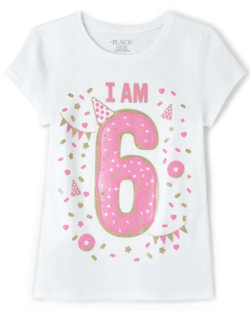 Girls Birthday Short Sleeve Glitter 'I Am 6' Graphic Tee