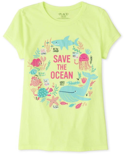 Girls Short Sleeve 'Save The Ocean' Animals Graphic Tee