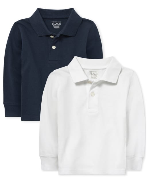Conjunto de 2 polos de piqué de manga larga con uniforme para bebés y niños pequeños