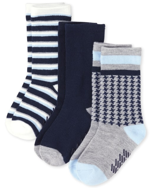Toddler Boys Houndstooth And Striped Crew Socks 3-Pack
