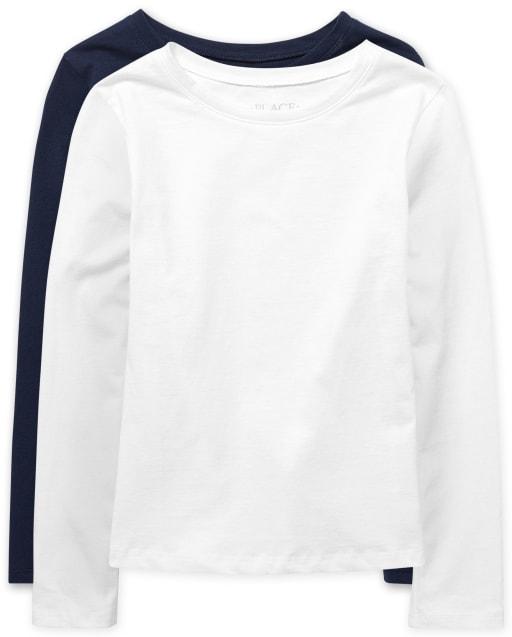 Camiseta básica de capas para niñas, paquete de 2