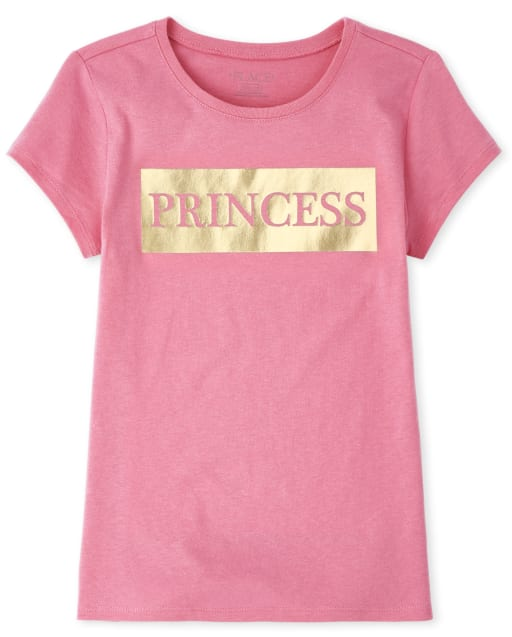 Girls Mommy And Me Short Sleeve Foil 'Princess' Matching Graphic Tee