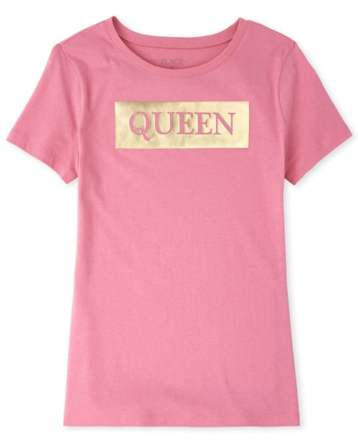 Womens Mommy And Me Short Sleeve Foil 'Queen' Matching Graphic Tee