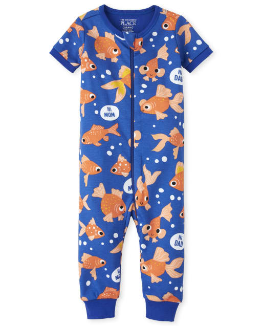 Baby And Toddler Boys Short Sleeve Goldfish Print Matching Snug Fit Cotton One Piece Pajamas