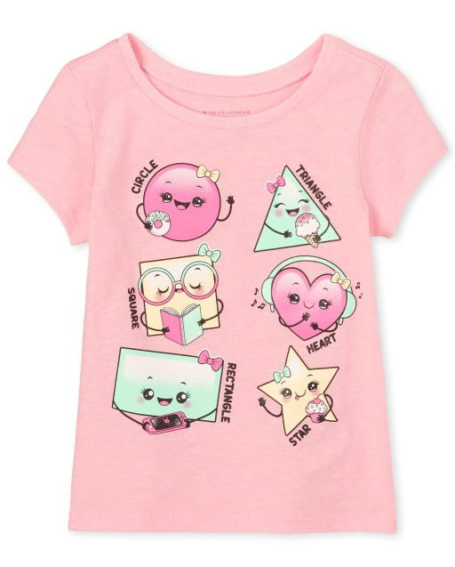 Baby And Toddler Girls Short Sleeve Glitter Shapes Graphic Tee